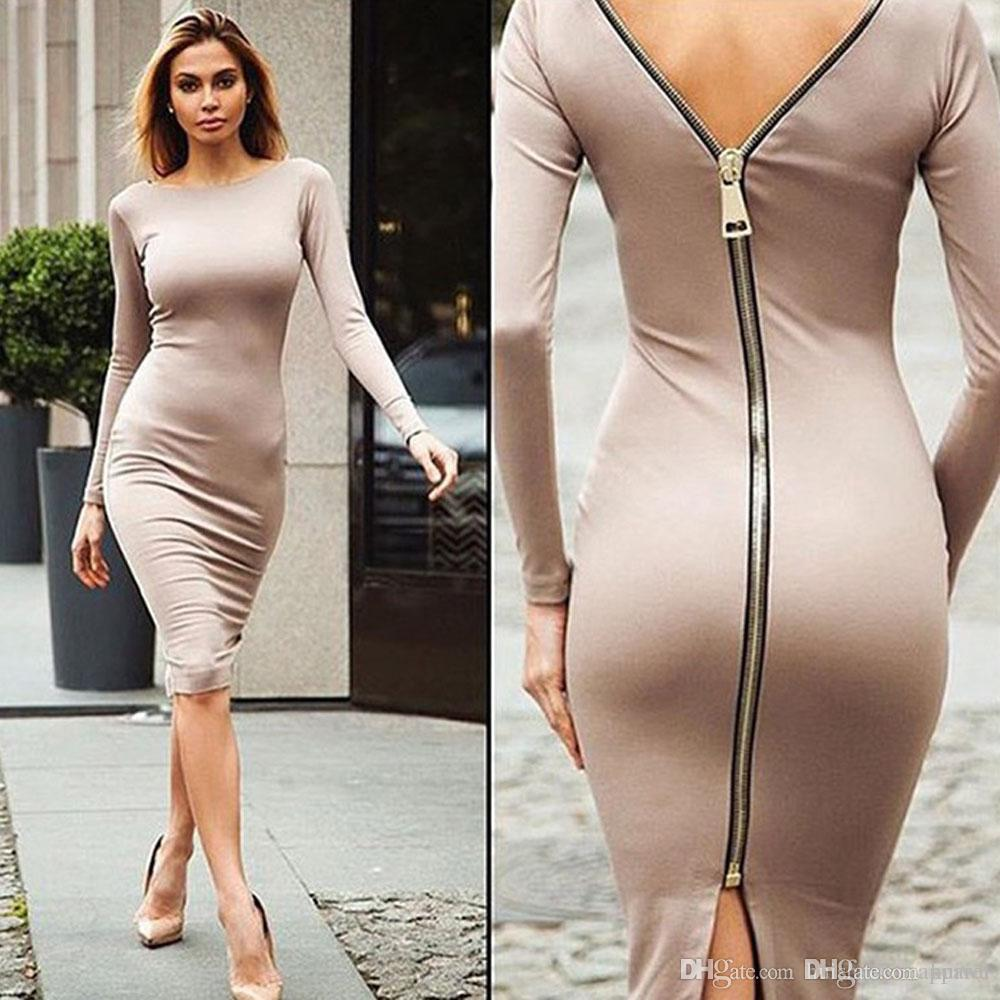 Women Bodycon Sheath Dress Little Black Long Sleeve Party Dresses Back Full Zipper Robe Sexy Femme Pencil Tight Dress