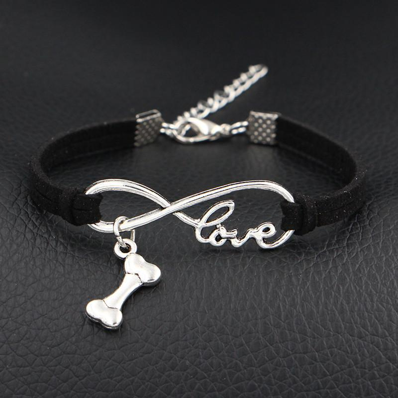 AFSHOR 2018 New Arrival My Dog Love Bone Charms Bracelet Antique Silver Infinity Love Black Leather Bangles For Women Men Fashion Jewelry