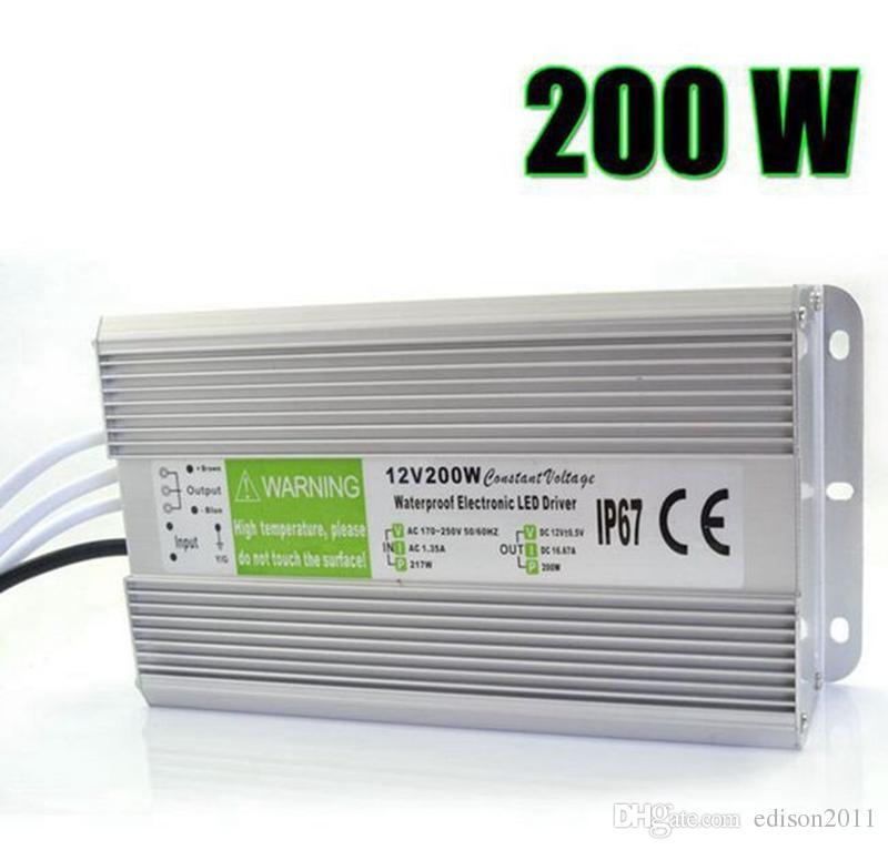 Edison2011 ip67 12 فولت 16.7a 200 واط ac 110-260 فولت مدخلات الإلكترونية للماء أدى امدادات الطاقة / led محول 12 فولت 200 واط