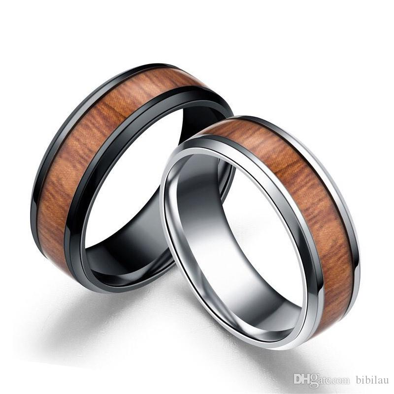 MGFam (185R) Stainless Steel 316L Wood Pattern Rings for Men Jewelry Fashion Black White No Change Color 6/7/8/9/10/11/12/13