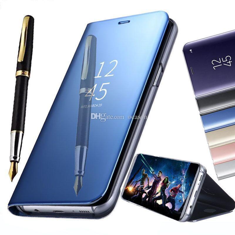 Titular caso de telefone galvanizar inteligente kickstand espelho vista tampa da aleta vigília do sono para iphone xs max xr x 7 8 plus samsung s8 s9 além de nota 9 8