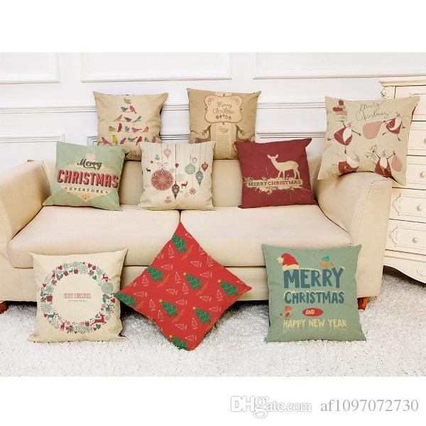 New Christmas Gift Series Pillow Covers 18 Styles Company Promotional Advertising Gifts Can Be Printed Logo Free Customized Any Pattern R567
