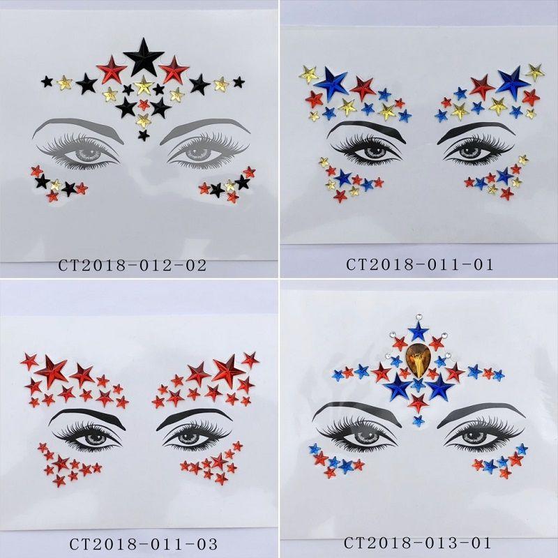 Corpo Viso Flash Art Fronte gemme Tatuaggio Adesivi donne Prom facile uso fai da te adesivo degli occhi di cristallo temporanea decorazione gioiello Incolla 10cps / set