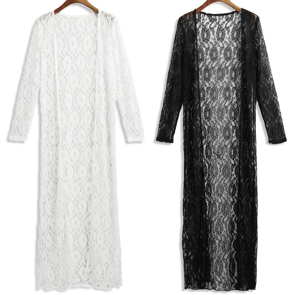 fa322c4826 GS490W-S Women Floral Lace Kimono Semi Sheer Plus Size Solid Open Front Long  Elegant Beach Cover Up Cardigan