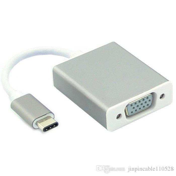 USB-C USB 3.1 Tip C VGA 1080 p HDTV Adaptör Kablosu ile Gümüş Alüminyum Kasa için laptop 12 inç Macbook
