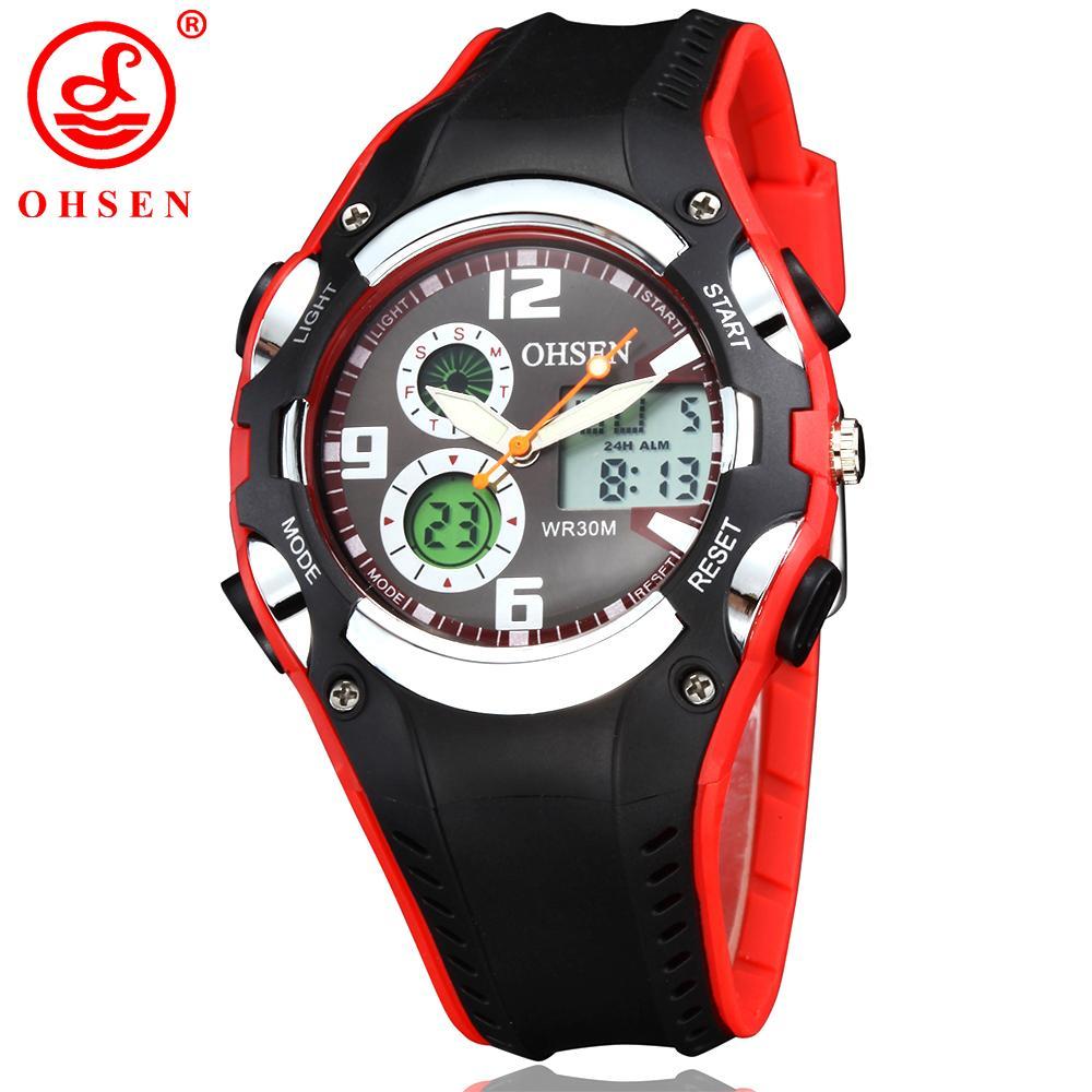 OHSEN Electronic Women Sport Watch Waterproof 30M Outdoor Analog Alarm Dual Display Wristwatches Quartz Digital Relogio Feminino S915