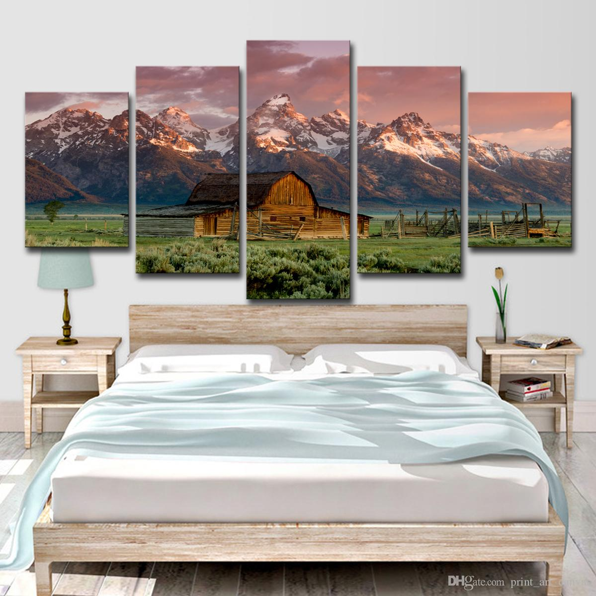 5 Pieces Home Decor Canvas Print Painting Wall Art Barn Rocky Mountains