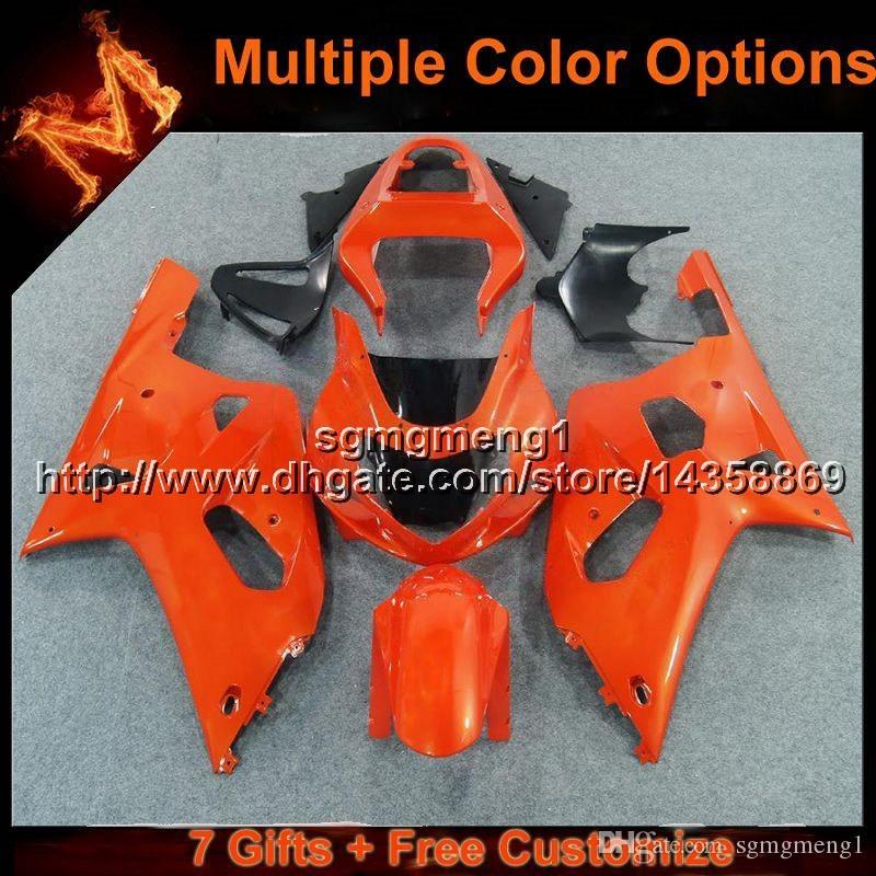 23 renkler + 8 Hediyeler turuncu Vücut Kiti Suzuki GSX-R600750 2001 2002 için motosiklet motosiklet panelleri GSXR750 01 02 03 ABS Plastik kaporta