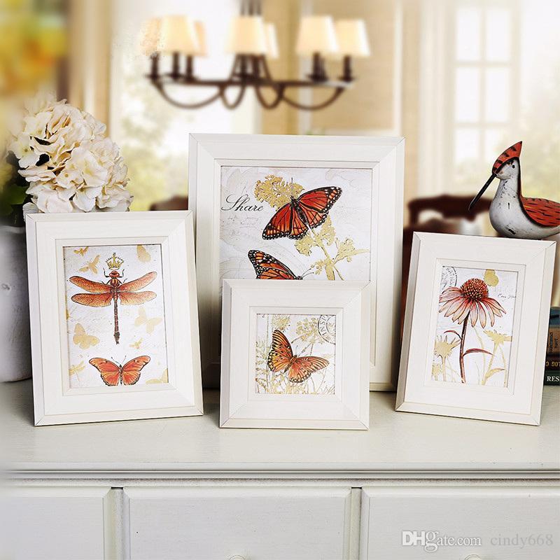 "Modern White 4""6""7""10inch Family Photo Frame Artistic Butterfly Pattern Picture Frame Home Desktop Art Decor Wedding Picture Holder"