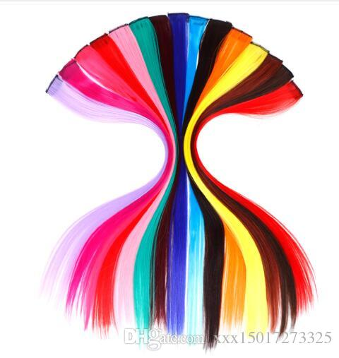 Single Clip In One Piece Hair Extensions Long Straight Heat Resistant Synthetic Pink Green Hair Pieces