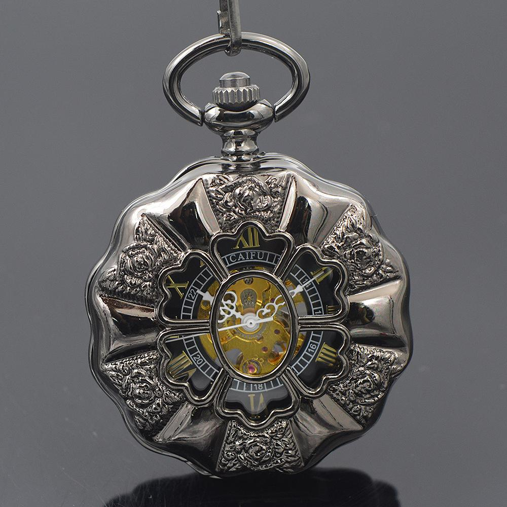 Relógio de Bolso Mecânico Steampunk preto Caso Oco Vintage Antigo Esqueleto Analógico Mão Enrolamento Mecânico Mens Relógio de Bolso