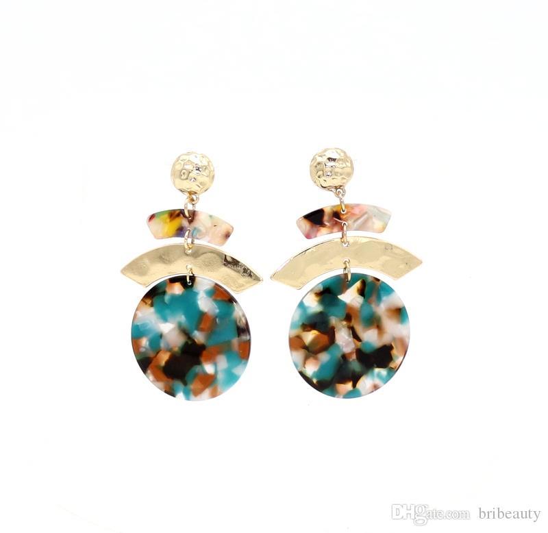 Nuova resina acrilica orecchini pendenti ovali per le donne metallo martellato geometria cerchio rotondo orecchini tartarugato orecchini acetato brincos gioielli