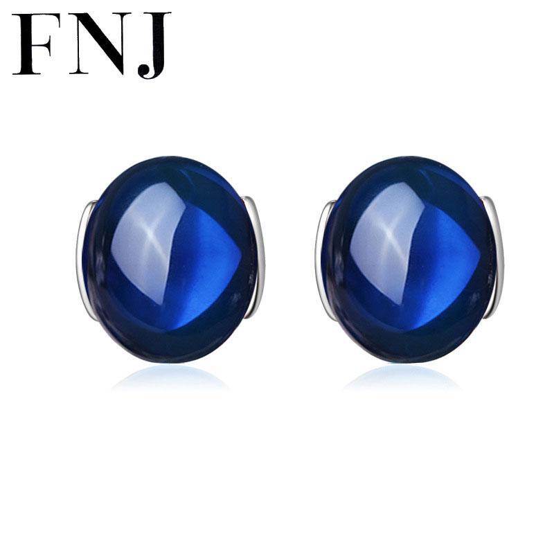 vendita all'ingrosso 925 Sterling Silver Brincos Red Granato Orecchini orecchino blu corindone S925 orecchini d'argento gioielli delle donne LE01