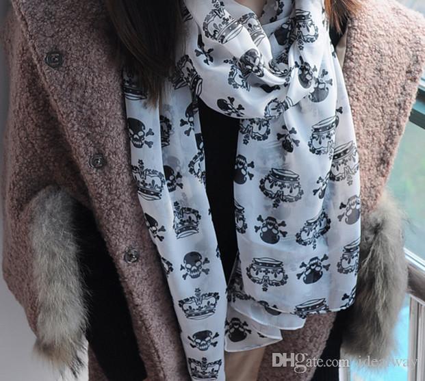 100٪ الحرير أزياء جميلة جديد يطرح طباعة أبيض أسود تاج الجمجمة الشيفون والأوشحة شال الشيفون هيكل عظمي رئيس مربع الأوشحة شال