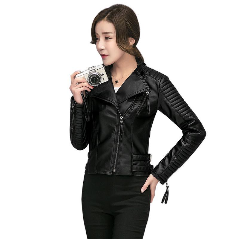Las mujeres de primavera y otoño de la PU chaqueta de cuero femenino delgado y suave chaqueta Moto Biker Faux Leather moda mujeres abrigos