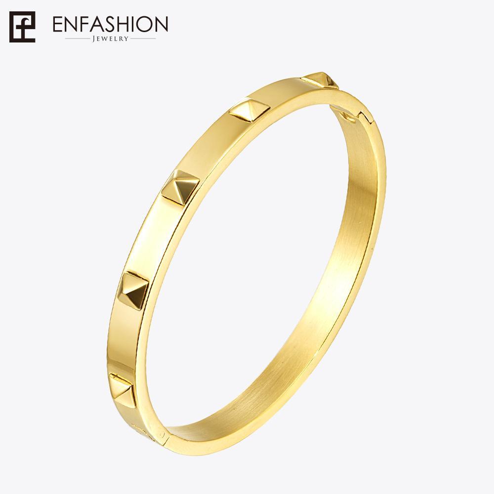 Enfashion الهرم المسامير سوار طويق الذهب اللون المقاوم للصدأ سوار للنساء صفعة أساور أساور pulseiras L18101305