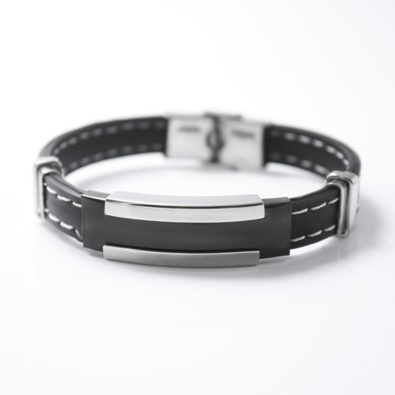 Sangsy Мужская Серебро Черный Нержавеющая сталь силиконовой резины браслеты Мужские браслеты браслет черный Pulsera Мужской ювелирные изделия