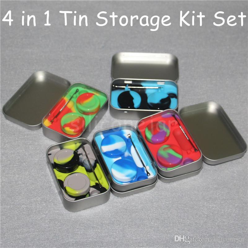 Kit di silicone Set con 1pcs scatola di latta 2pcs 3ml Silicone Dab contenitori per cera Dabs vasetti e argento Dabber Tool