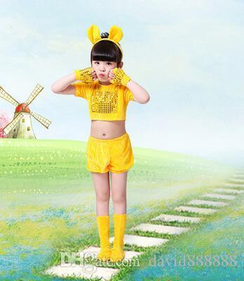 2017 новый стиль дети косплей желтые мыши животных выполнять блестки одежда мальчиков и девочек танец сиамские одежда короткий стиль