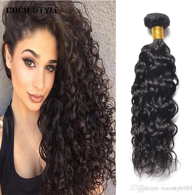 Capelli di Remy dei capelli di Wave dell'acqua peruviana 1 pacchetto naturale nero di colore 100% dei capelli umani 8-28 pollici tessuto dei capelli di estensione