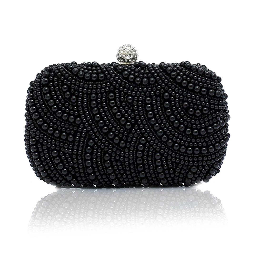 Moda debriyaj boncuk debriyaj gelin çantası altında kol çantası parti düğün akşam çanta, siyah