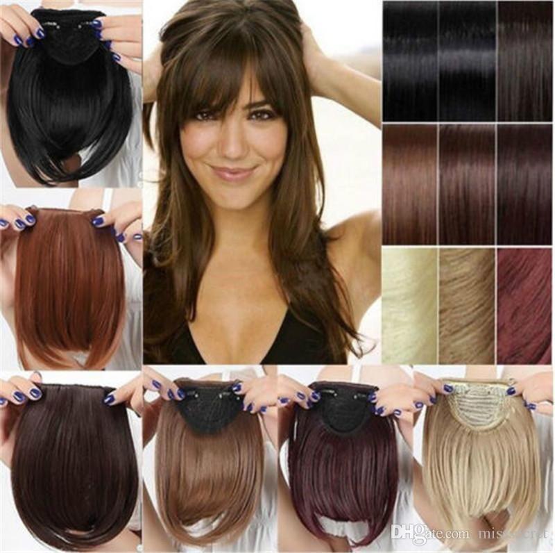 Nuovi 32 colori Short Front Scoppi netti Frangia di capelli sintetica Bang Hairpiece Clip davanti Estensione capelli dritti