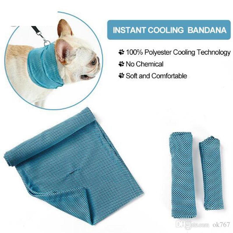Ice Cooling Towel Bandana For Pet Dog Cat Scarf Summer Breathable Cooling Towel Wrap Blue Bows Accessories In Retail Bag Pack