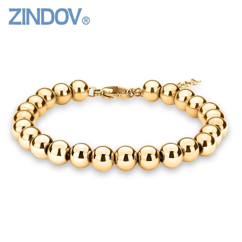 ZINDOV Hot Trendy Silver Rose Gold Filled 316L Stainless Steel Beads Bracelets Female Women Bangles Jewelry Bracelet Gold Color