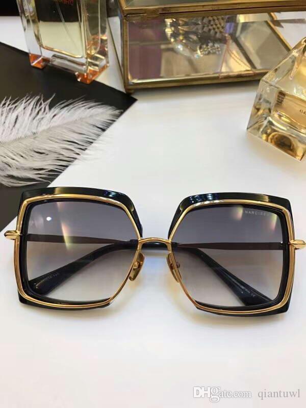 Mujeres plaza NARCISO gafas de sol de oro negro Gradiente lente gafas de sol Gafas de diseño Sonnenbrille nuevo en caja