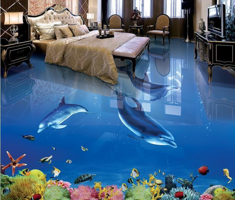 3d pvc piso impermeável auto-adesivas murais papel de parede personalizado golfinho 3d pisos para casas de banho