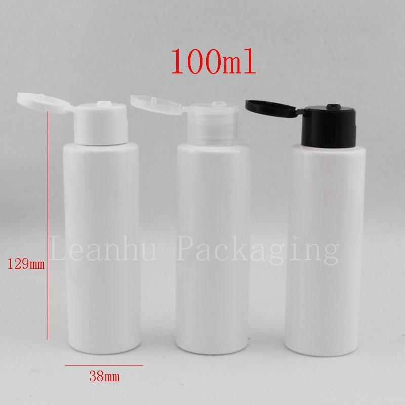 100ML الأبيض الزجاجات البلاستيكية الفارغة أعلى الوجه كاب 100G مستحضرات غسول حاويات شامبو حجم سفر PET زجاجة الصابون السائل