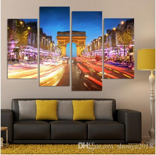 Free shipping New 4 Piece Night Landscape of The Arc De Triomphe In Paris Wall Art Picture Modern Home Decor Living Room Canvas Print Painti
