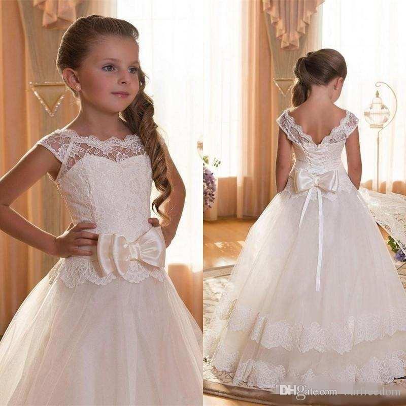 Vestidos de primera comunión para niñas 2019 Scoop Backless Apliques Vestido de niñas con flores Arcos Vestido de tul Vestido de gala Vestidos para niñas