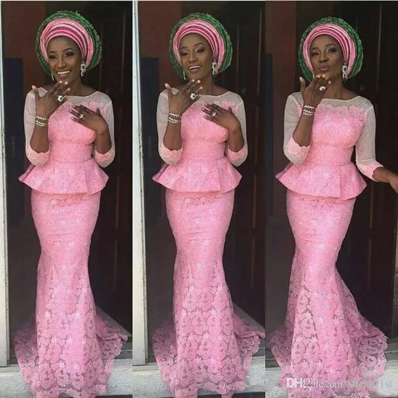 2018 robes nigériennes tenues de soirée avec manches manches encolure dégagée sirène bascule dentelle rose robes de bal africaines