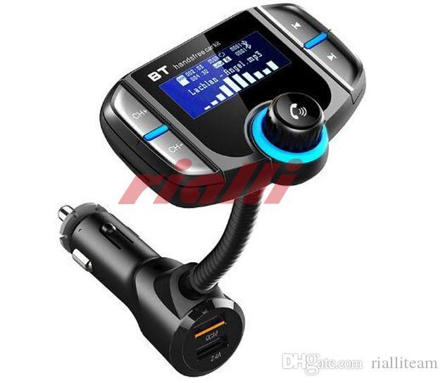 2PCS بلوتوث الارسال FM مع شاشة عرض 1.7 بوصة ترقية FM الارسال مع شاحن سيارة لاسلكي الارسال FM شاحن USB سريع Charge3.0