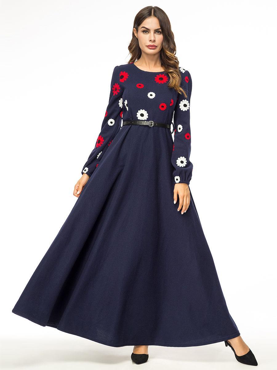 Compre Artsu Vintage Mujer Vestido De Invierno 2018 O Cuello De Manga Larga Estampado Floral Maxi Vestido Mujer 4xl Plus Size A Line Vestido Con