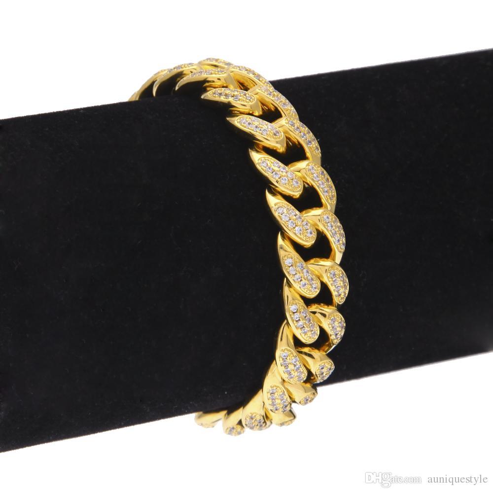 Braccialetto Zircon Curb Cuban Link, Auniquestyle Hip Hop Strass Gioielli 18K Oro Argento Spessa Heavy Copper Iced Out CZ Chain Bracelet 13MM