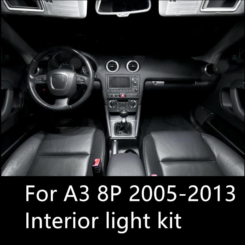 shinman 12pcs AUDI A3 8P aksesuar 2005-2013 iç ışık freeshipping için ücretsiz araba LED İç Işık Kiti Paketi Hata