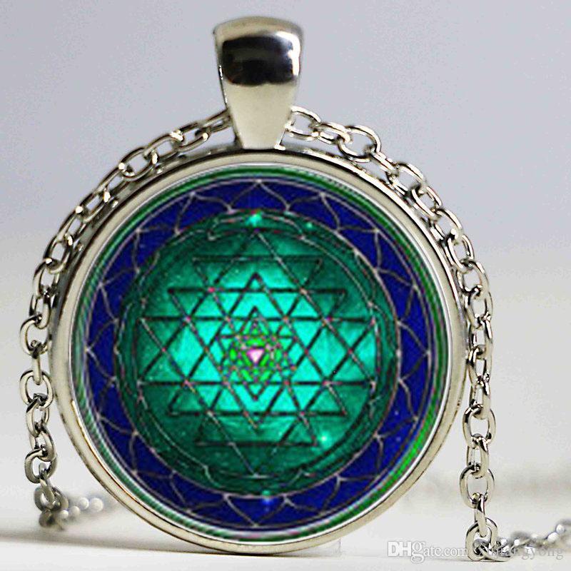 Vintage cabochon verre Collier Yoga Guérison Argent//Noir//Bronze pendentifs