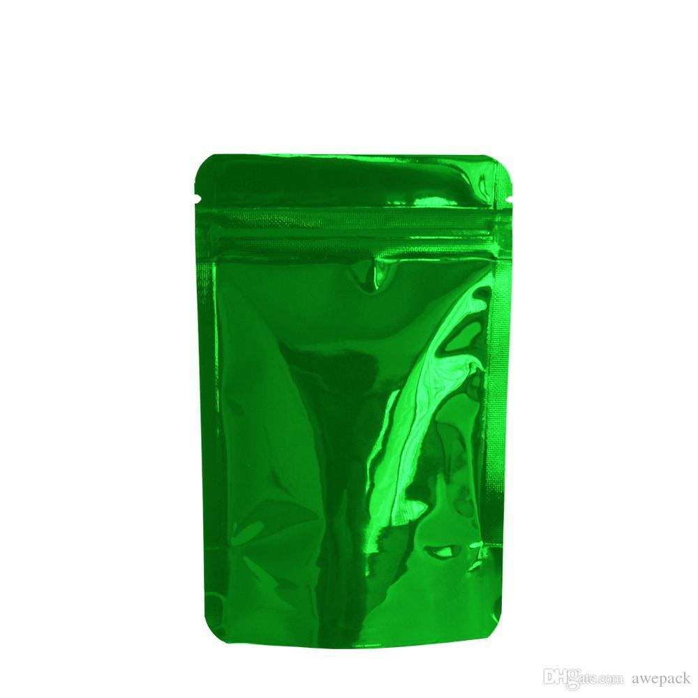 8.5 * 13cm Verde Stand Up Zip blocco mylar sacchetto dell'imballaggio per Alimenti secchi polvere di caffè di immagazzinaggio del fagiolo di alluminio dell'imballaggio commercio all'ingrosso del sacchetto