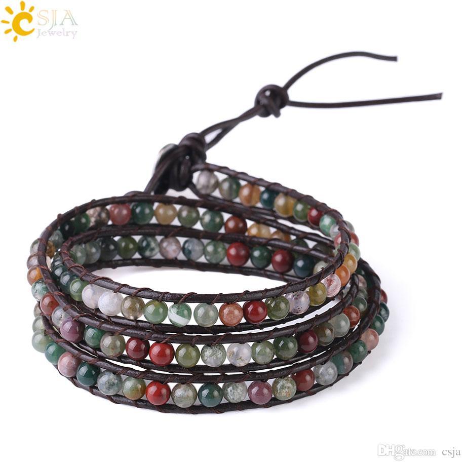 CSJA Natural Agate Bracelets Multiple Layers Raw Color Gemstone Beads Leather Wrap Bracelet Women Girls BOHO Bohemian Trendy Jewelry S180