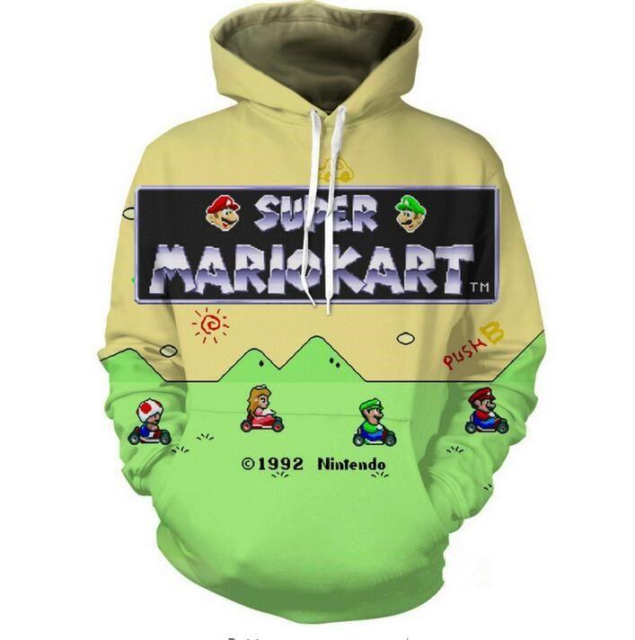 새로운 패션 여자 / 남자 커플 만화 슈퍼 마리오 3d 인쇄 후드 후드 긴 소매 후드 스웨터 재킷 풀오버 탑 LMS0072