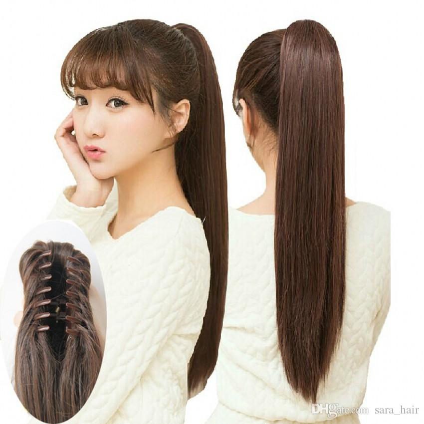 Sara Women S Girls Claw Clip In Straight Ponytail 55cm 22 Synthetic Hair Clip In On Hair Extension Piece Brown Black Horsetail Pony Tail Long Hair