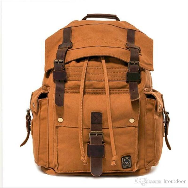 Large Capacity Men's Retro Canvas Leather Backpack School Bag Outdoor Travel Camping Hiking Rucksack Shoulder Bag