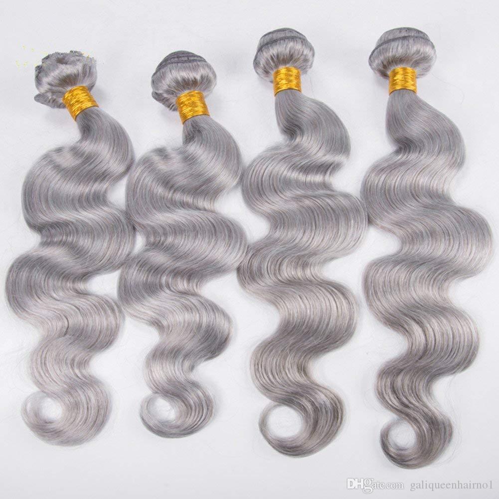 Körperwelle Bundles Jungfrau Silber Grau Haarwebart Graues Haar Spinnt 100% Menschliches Reines Haar Schuss Für Schwarze Frauen