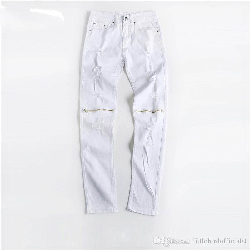 Erkekler Beyaz Dizler fermuar Delik Ile Yırtık Kot Pantolon Sıska Ince Tahrip Sıkıntılı Streç Denim Joggers Pantolon