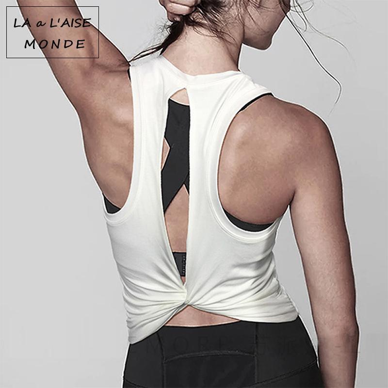 d7d90e4b3acea Tank Workout Tops For Women Activewear Open Back Yoga Jersey Women's Sport  Blouses Fitness T Shirt Sports Wear Gym Sportswear
