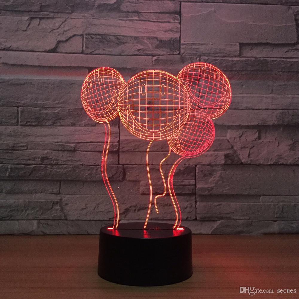 Smile Balloons 3D Optical Illusion Lamp Night Light DC 5V USB Powered 5th Battery Wholesale Dropshipping Free Shipping