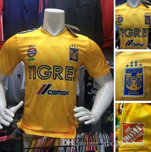 2018 2019 Mexican League Football Club Tigres UANL Soccer Jerseys GIGNAC GUERRON SOBIS DUENAS Custom Home Yellow Away Thirdly Football Shirt