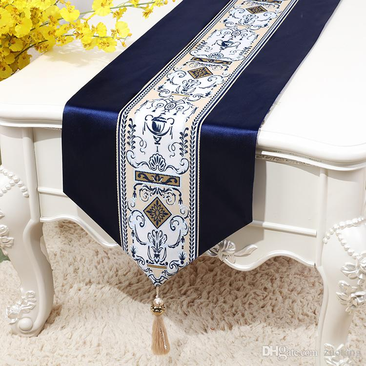 European Modern Lace Silk Satin Table Runner Wedding Christmas Party Tablecloth Rectangle Luxury Dining Table Mat 200x33 cm